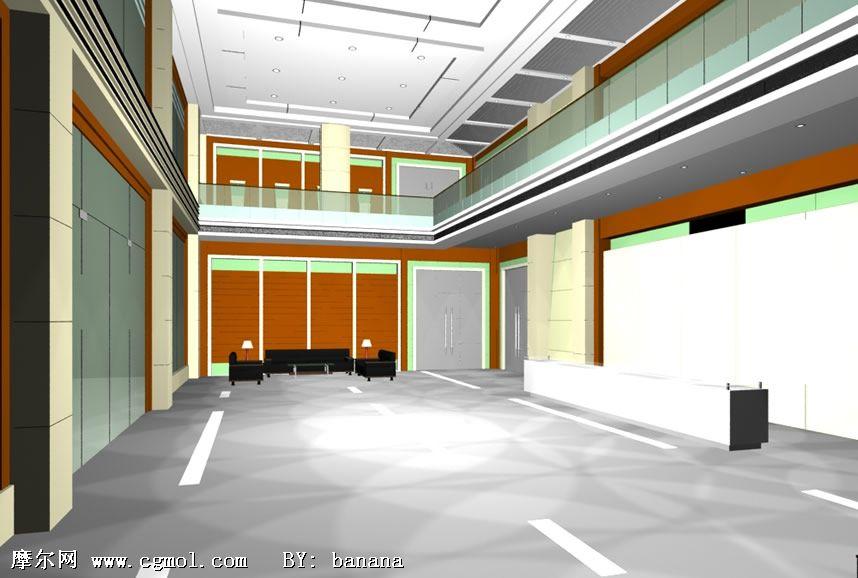 公司大樓內部整體效果3d模型
