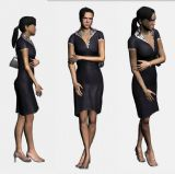 心情低落的行走中的妇女,3D人物模型