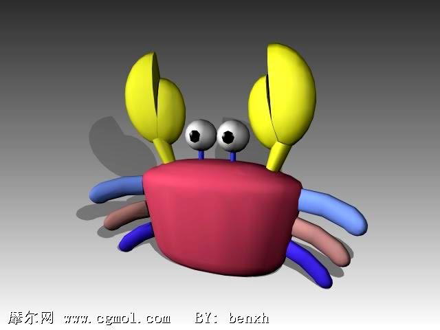 螃蟹卡通动物3d模型,卡通角色