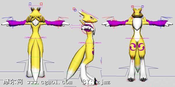 已绑定的 狐狸 ,maya卡通角色模型,卡通角色,动高清图片
