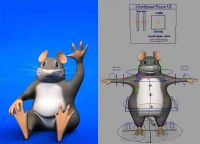 做好绑定的可爱卡通小老鼠,MAYA动物模型(带贴图)