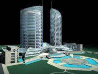 庞大的现代化建筑场景3D模型