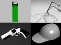 打火机,左轮手枪,安全帽,麦克风3D模型