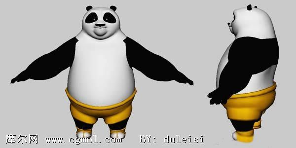 功夫熊猫阿宝,maya卡通角色模型
