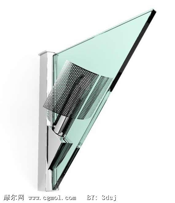 玻璃三角形壁灯3d模型 p.cgmol.com 宽570x658高