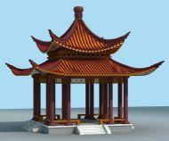 中式凉亭3D模型