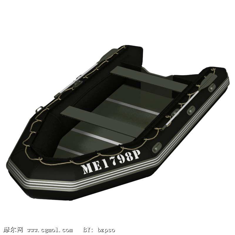 四人登陆皮划艇3D模型