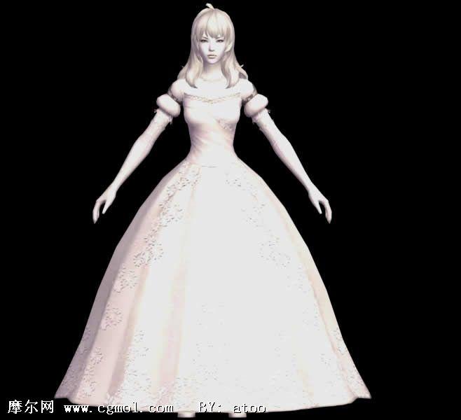 aion永恒之塔 穿婚纱的美女3d模型
