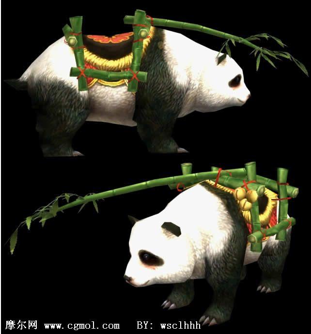 可爱熊猫(带蒙皮和骨骼),3d游戏角色模型