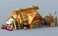 卡通杂货店铺,小木屋3D模型