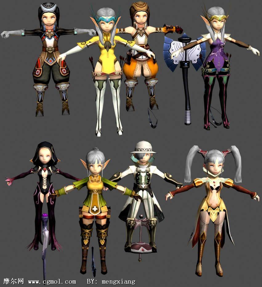 龙之谷游戏下载_龙之谷战士,法师,牧师,弓箭手转职职业角色3D模型_卡通角色_游戏 ...