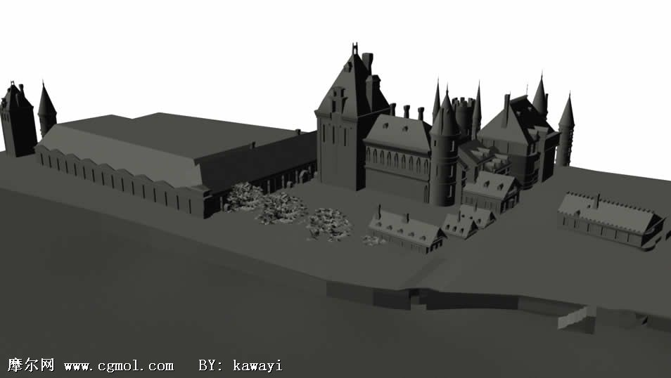 港口城堡,maya场景模型 高清图片