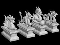 四条龙的雕塑模型