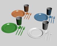 蛋糕 碟子 叉子 刀子 杯子3D模型