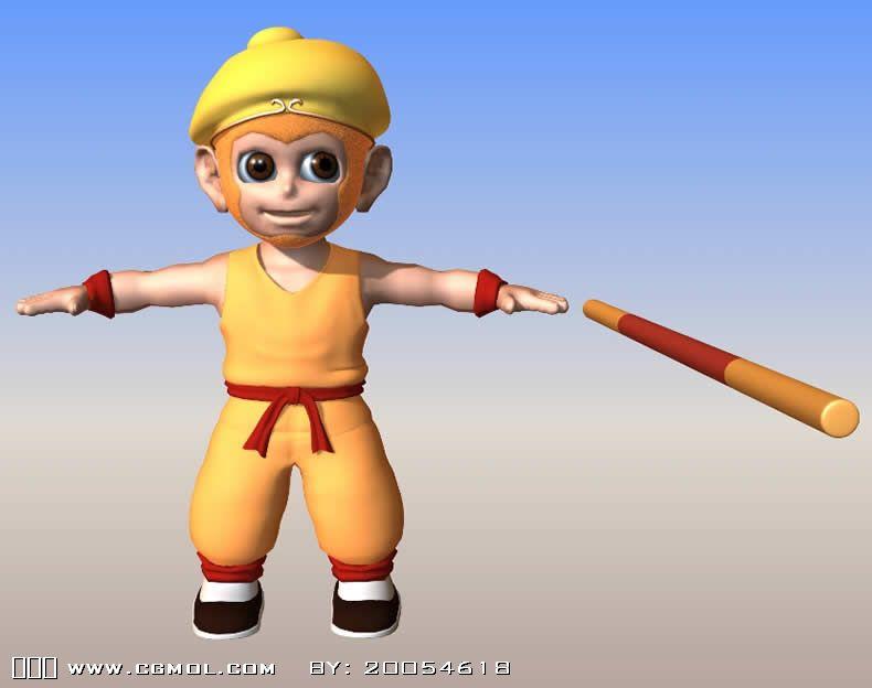 q版孙悟空 maya卡通角色模型 带骨骼 高清图片
