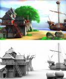 惬意的海滩 小屋,maya场景模型