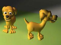两只可爱的小狗模型
