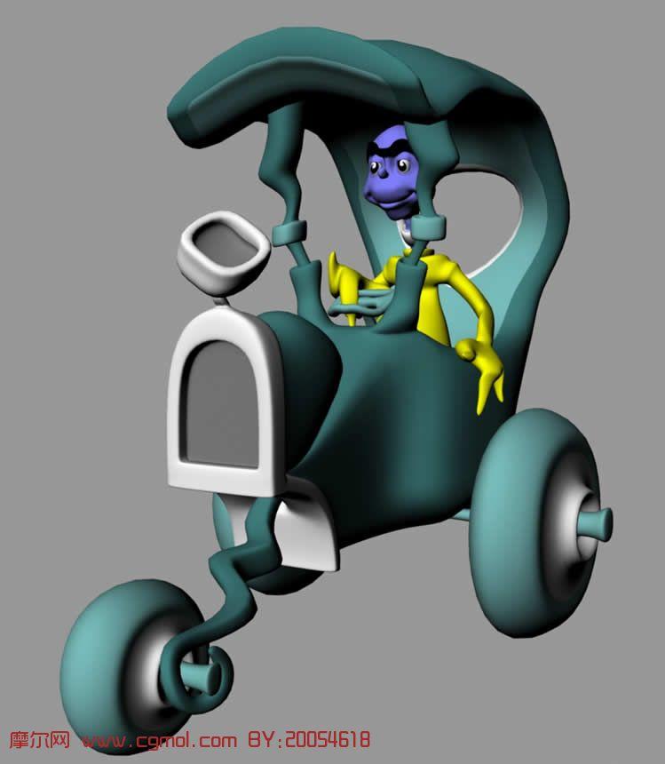 开车的maya卡通人物模型