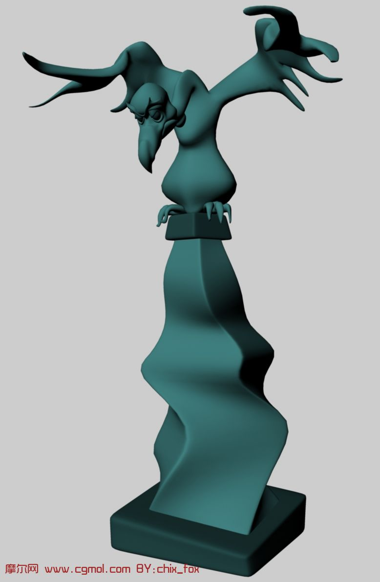 老鹰雕塑,maya模型