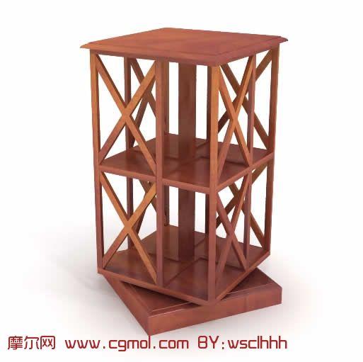 木制书架3d模型,室内家具