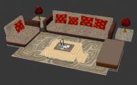 中式沙发家具组合3D模型