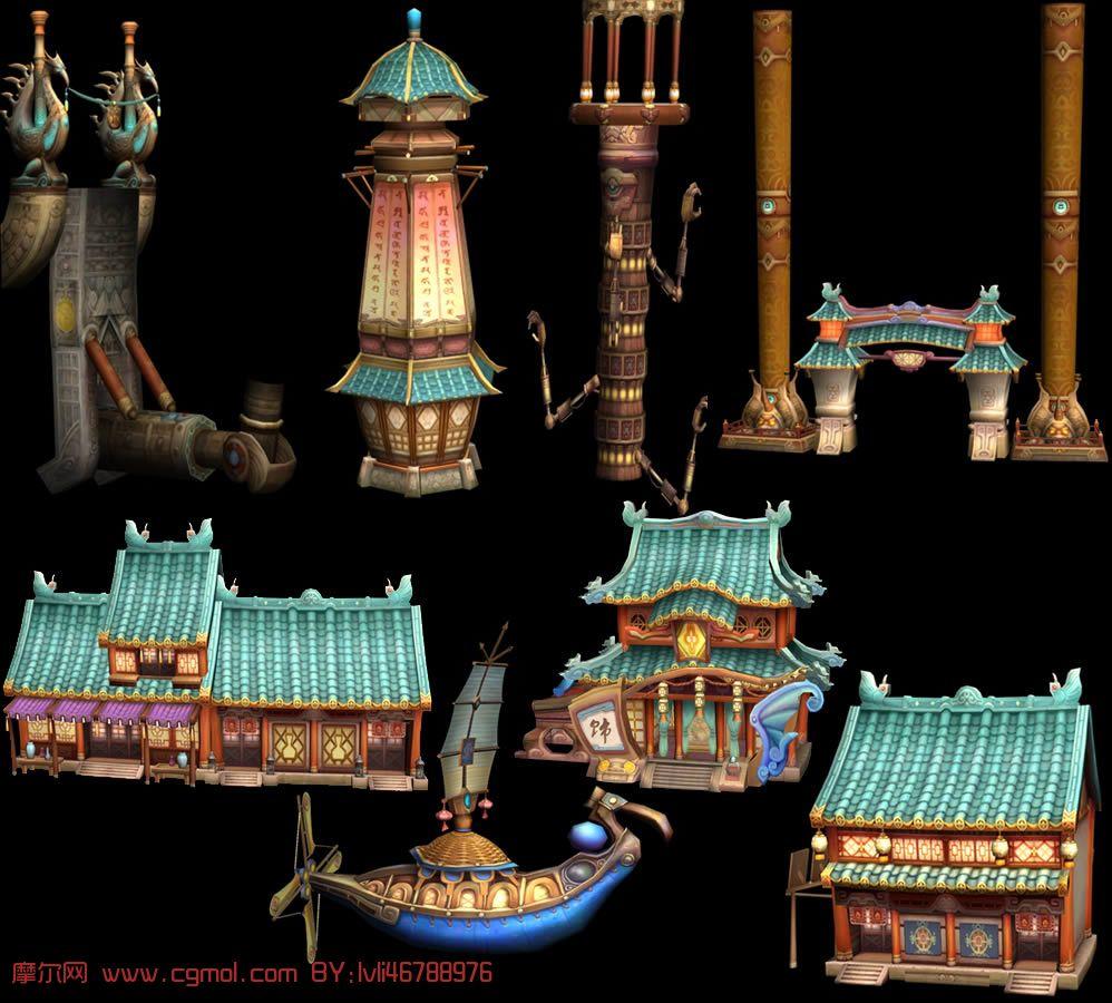 一套q版游戏场景建筑3d模型图片