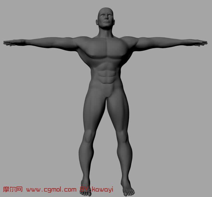 已做好绑定的强壮男子模型 maya人物模型 高清图片