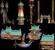 一套Q版游戏场景建筑3D模型