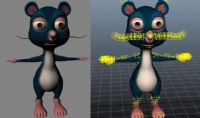 maya卡通老鼠模型,已做好绑定