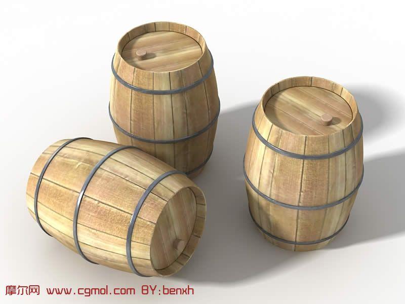 木制酒桶3d模型,其他,室内模型