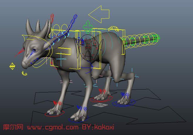 已做好绑定的四足小怪物,maya模型,带控制器