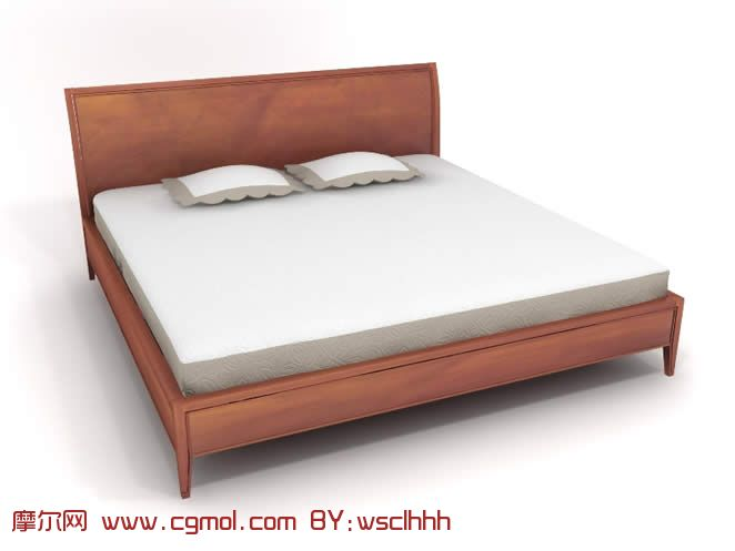 木制床3d模型,室内家具