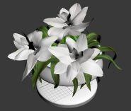 圆形小花坛里的栀子花3D模型