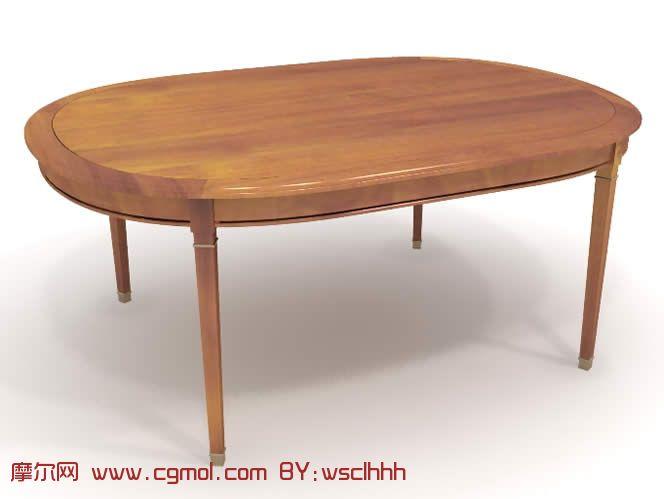 木制的椭圆形桌子3d模型