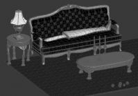 客厅家具,沙发,茶几,台灯3D模型