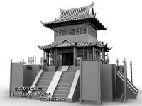 古建筑,帅殿,塔楼,古塔,maya模型