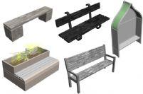 五款公园内的长椅,石椅,木椅3D模型
