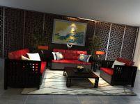 中式古典风格客厅3D模型(材质贴图齐全)