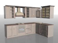 一套木制风格的厨房用品3D模型
