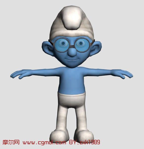 带眼镜的蓝精灵卡通人物3d模型