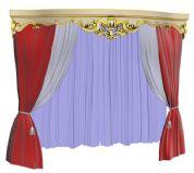 欧式华丽的窗帘,3D室内装饰模型