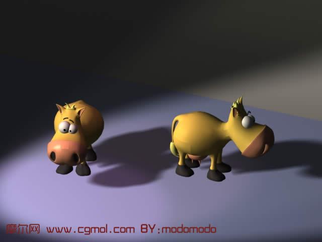 小奶牛3d模型,哺乳动物