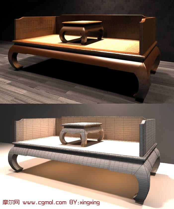 古典罗汉床3D模型