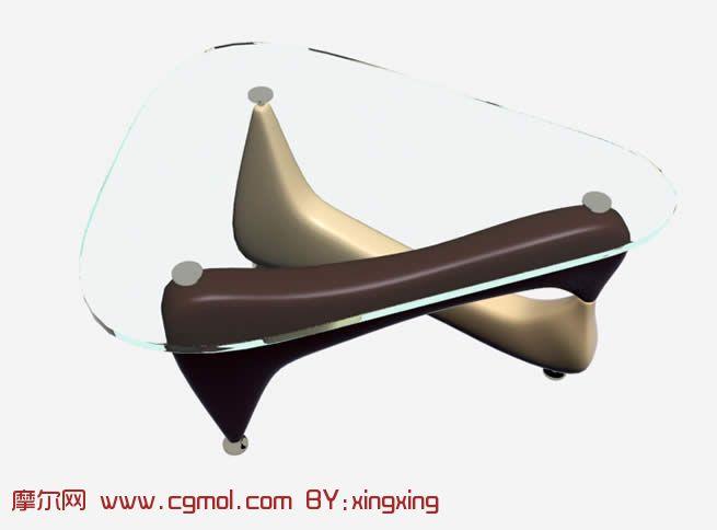 简约玻璃桌3D模型