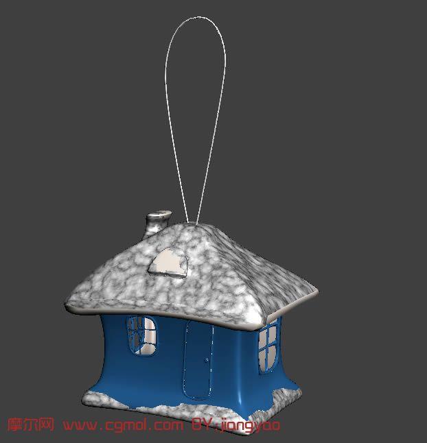 卡通小屋,手机吊坠,手机挂饰3d模型