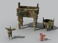 青铜鼎,觥,古代器具,文物3D模型