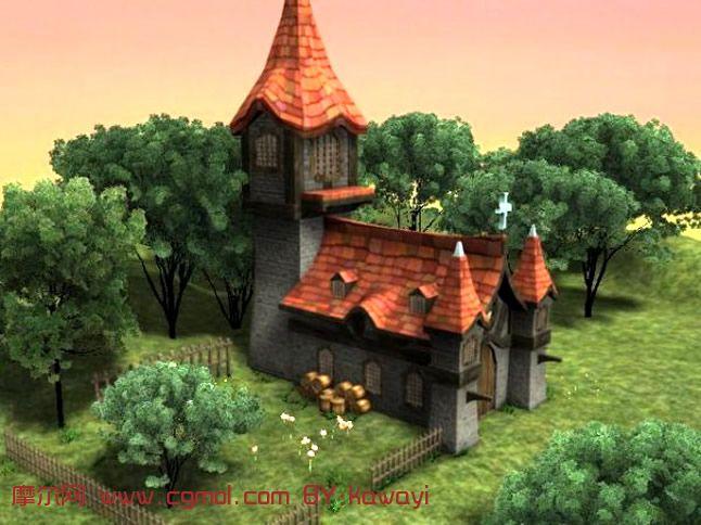 欧式建筑,住宅,庭院场景模型