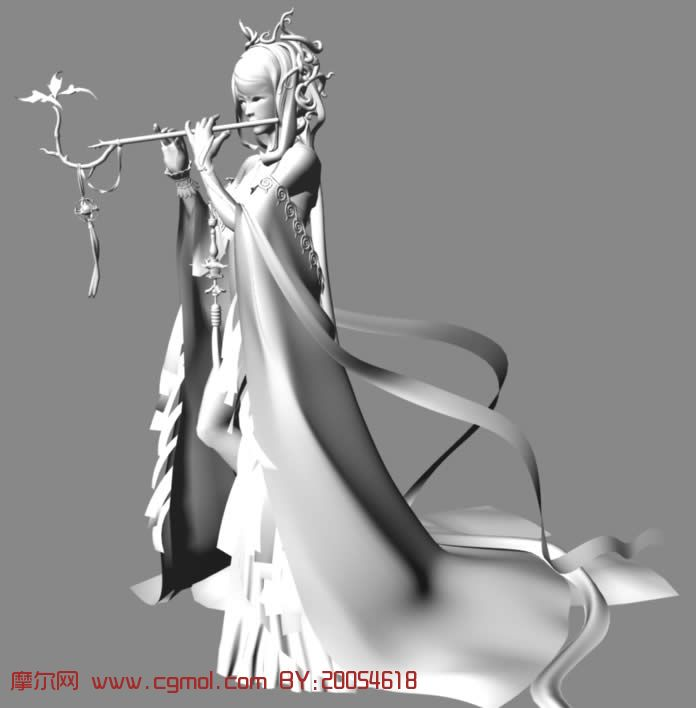 qq仙侠传中的慕容mm,maya人物模型 高清图片