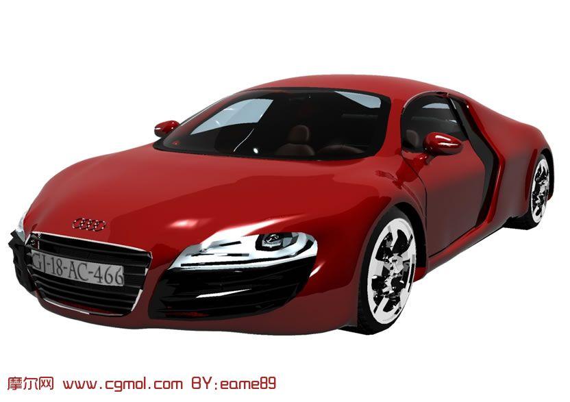 新版个性红色audi奥迪r8汽车3d模型