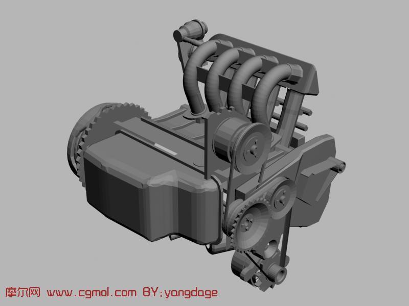 汽油发动机3d模型